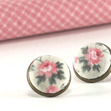 Stud Earrings - Little Roses Earring Studs - Pink Green Flowers - Shabby Chic Romantic Fabric Buttons Jewelry - Antique Posts