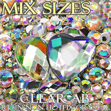 1500Pcs Lot Mix Sizes Clear AB Black Round Acrylic Resin Non Hotfix Flatback Rhinestone 2mm 3mm to 6mm for 3D Nail Art Crystal