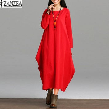 2017 ZANZEA Womens Retro Cotton Linen Long Sleeve Casual Party Asymmetric Baggy Kaftan Maxi Long Dress Vestido Plus Size