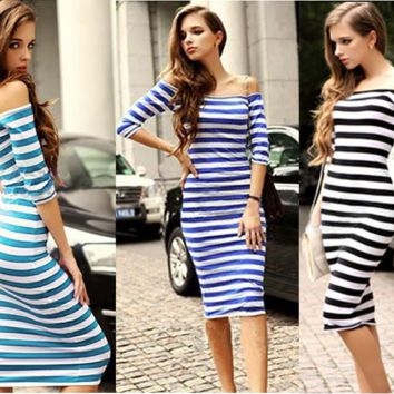 Off Shoulder Stripes Bodycon dress