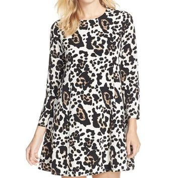 Women's CeCe by Cynthia Steffe 'Asha' Animal Print Babydoll Dress,