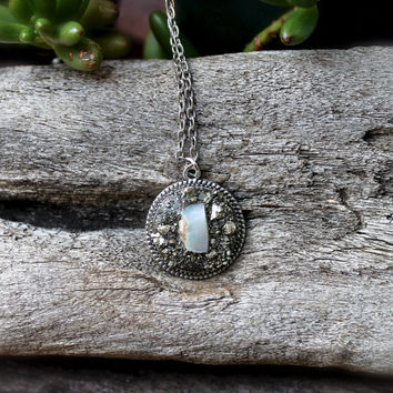 Rough Opal Necklace - Natural Opal Jewelry - Pyrite Jewelry - October Birthstone Necklace - Gypsy Bohemian Jewelry - Raw Stone Necklace