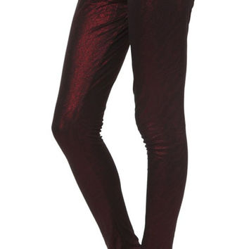 BadAssLeggings Women's Shiny Leggings Medium Dark Red