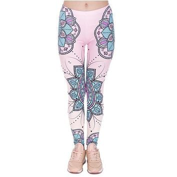 3D Mandala Flower Slim High Waist Aztec Leggings