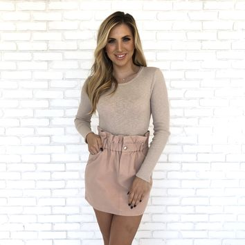 Legend Denim High Waist Skirt in Blush
