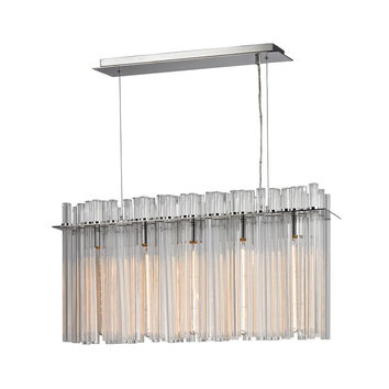 Fringe 5 Light Chandelier In Polished Stainless Steel Polished Stainless Steel,Polished Nickel