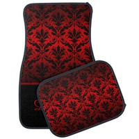 Elegant Red and Black Damask Monogram Car Mats