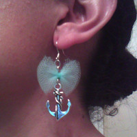 Anchor Earrings - Silver Anchor and Teal Tulle - Love is an Anchor