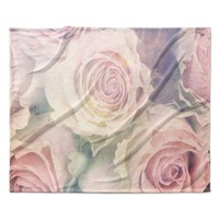 "Suzanne Carter ""Faded Beauty"" Blush Floral Fleece Throw Blanket"