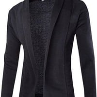 jeansian Men's Solid Knit Cardigan Jacket Coat Blazer 9354