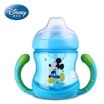 Disney baby cup feeding water bottle with handle no spill hot water bottle with straw heathy learning drink sippy copo Cute gift
