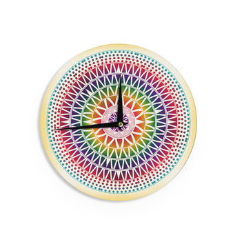 "Famenxt ""Colorful Vibrant Mandala"" Rainbow Geometric Wall Clock"