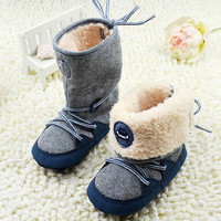 Newborn Toddler Baby Boy Girl Warm Fur Snow Boots Stripes Soft Sole Booties First Walkers