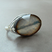 Wire Wrapped Ring - To Order - Stone, Crystal, Grey, Gray, Shadow, Cloudy, Light Grey, Bright, Bride, Bridal, Night, Romantic, Lovely