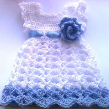 White Light Blue Baby dress  Newborn Outfit Shower gift Photo prop First Outfit  Christening Infant baby frock Summer Dress