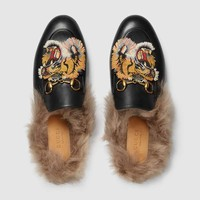GUCCI Princetown Tiger Embroidered Black Leather Slipper