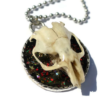 Real Skull Necklace Jewelry Pastel Goth Cameo Pendant Rodent Skull Oddities Trophy Mount Jewellery