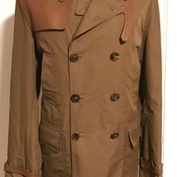 NWT $2495 Gucci Men's Light Brown Washed Gabardine Leather Trench Coat Jacket 52