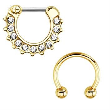 BodyJ4You Septum Clicker with Horseshoe Circular Barbell 16 Gauge Goldtone Royal Clear Gem