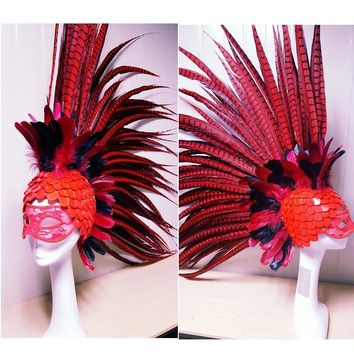 High Quality Custom Made Feather Headwear Catwalk Cosplay Headdress