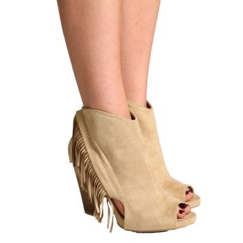Qupid Taupe Peep-Toe Fringe Booties
