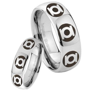 His Her Classic Mirror Dome Multiple Green Lantern Tungsten Carbide Silver Rings Set