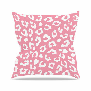 "Wildlife ""Pink Animal Print 1"" Rose White Outdoor Throw Pillow"