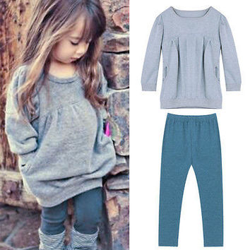 2PCS baby clothes cute Toddler Kids Baby Girls Outfits Long Sleeve T-shirt Tops+Pants Clothes Sets