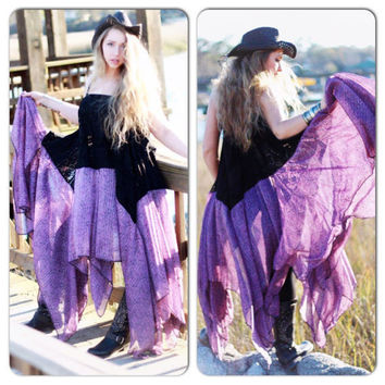 Sale Stevie Nicks Free spirit gypsy soul maxi dress, purple summer sundress, true rebel clothing