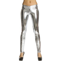 Silver Metallic Button Front Pants