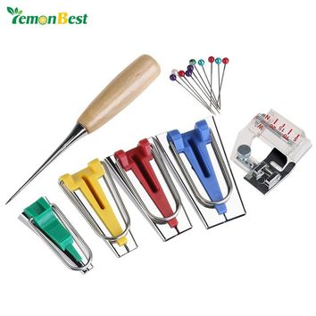 Bias Tape Maker Kit with Awl and Binding Presser Foot - 16 Piece 6mm/12mm/18mm/25mm