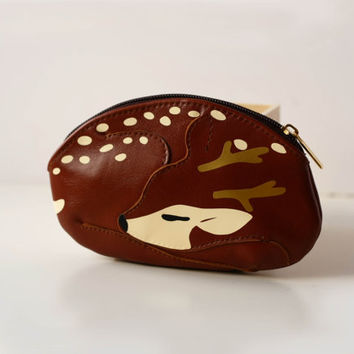 Sleeping Reindeer Brown Leather Pouch