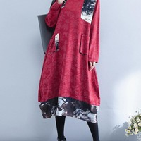 Casual Loose Ink Printed Patchwork Women Dresses