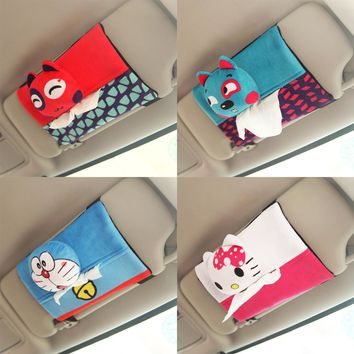 1pc 22cm cool doraemon hello kitty monkey sun shield ceiling plush paper towel vehicle-mounted tissue holder stuffed toy gift