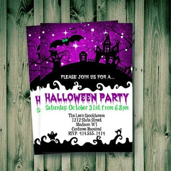 Halloween Invitation whimsical Halloween adult or kids haunted house printable purple spooky  Halloween Holiday invite 5x7 download invites