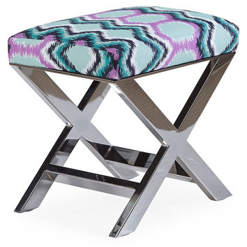 """Taylor Burke Home, Peter 23"""" Ottoman, Silver/Turquoise, Ottomans"""