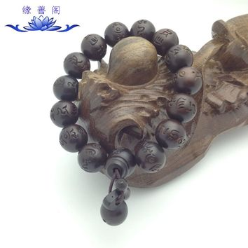 natural hand carved peach wood beads buddha prayer mala japa rosary Men Women meditation bracelet lover couple strand bracelet