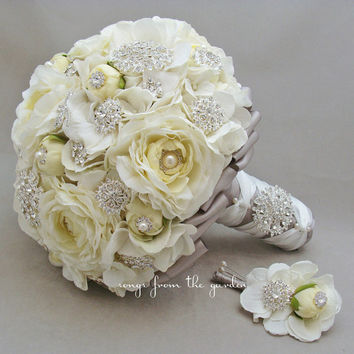 Brooches & Blooms Bridal Bouquet Silk Flower Wedding White Grey Bouquet Groom Boutonniere Silver Grey Brooch Bouquet Silk Flower Bouquet