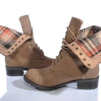 Marco Republic Expedition Womens Military Combat Boots - (Taupe) - 7.5