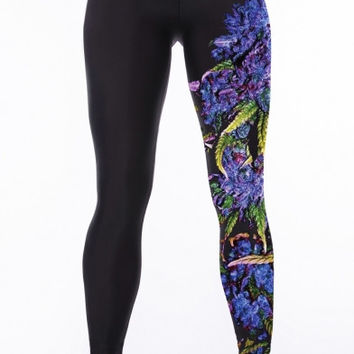 Black Elastic Waist Floral Print Yoga Leggings