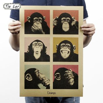 TIE LER Vintage Poster Gorilla Wall Stickers Kitchen Retro Kraft Paper Posters Movie Poster Decorative Painting 51x35.5CM
