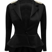 Crazy Girls Women's Fitted Dip Hem Peplum Style Blazer