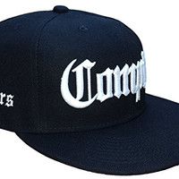 THS Compton Raiders Flat Bill Snapback Flat Bill Cap (One Size, Black / White)