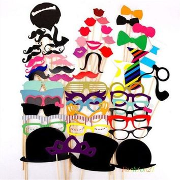 ONETOW 58PCS Colorful Props On A Stick Mustache Photo Booth Party Fun Wedding Favor Christmas Birthday Favor = 1946650628
