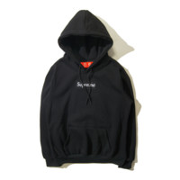 Autumn and winter skateboarding tide brand Supreme embroidery simple hooded sweater men and women Black-Black Label
