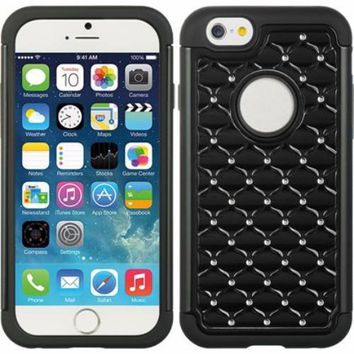 Apple iPhone 6s / 6 Case,  Crystal Rhinestone Slim Hybrid Dual Layer Case for Iphone 6S/6 - Black