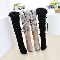 On Sale Hot Deal Matte Knee-length High Heel Rabbit Boots [11791915919]