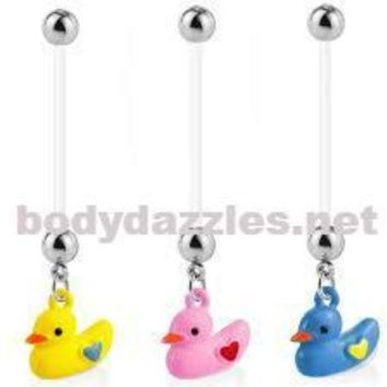 Duck Dangle Pregnancy Belly Rings Bioflex with 316L Surgical Steel Balls