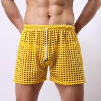 sexy shorts men home causal beach board short mens see through fishnet gay male party stage hollow out panties elastic