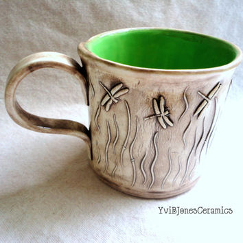 Pottery Mug, Ceramic coffee cup, Dragonfly design, green, 16 oz, hand crafted